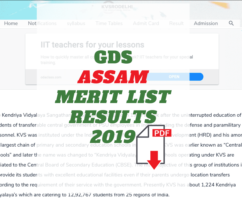 Gramin Dak Sevak Merit List Assam GDS Results 2019 Assam Postal Circle GDS Result 2019 GDS Result 2019 Assam Postal GDS Merit List 2019 Assam Post Office Gramin Dak Sevak Merit List