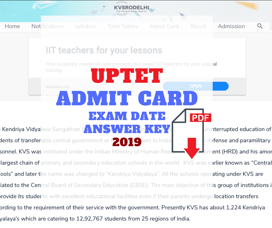 UPTET Admit Card 2019 Paper 1 & 2 Exam Dates official answer key